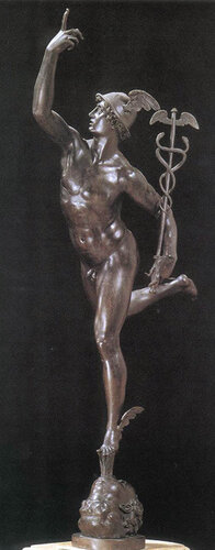 Mercury is the messenger of the gods, our fact-gatherer and distributor of information.  His winged shoes (talaria)...