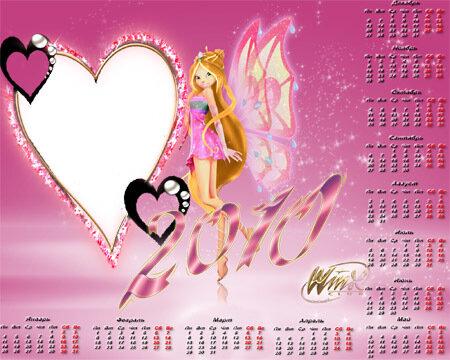 Рамка для Photoshop - Календарь Винкс на 2010 год