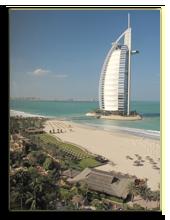ОАЭ. Дубаи. Вид на отель Burj Al Arab с балкона сьюта Jumeirah Beach Hotel