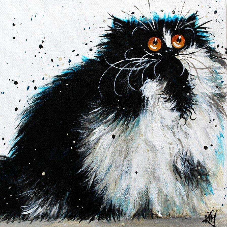 Рисунок смешного кота пушистого, пантера черная аватарку