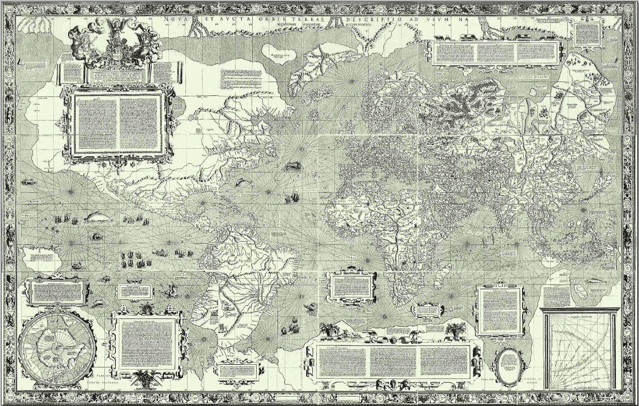 Это великое изобретение Меркатора состояло в том, что он нашел способ построения морских карт, при к