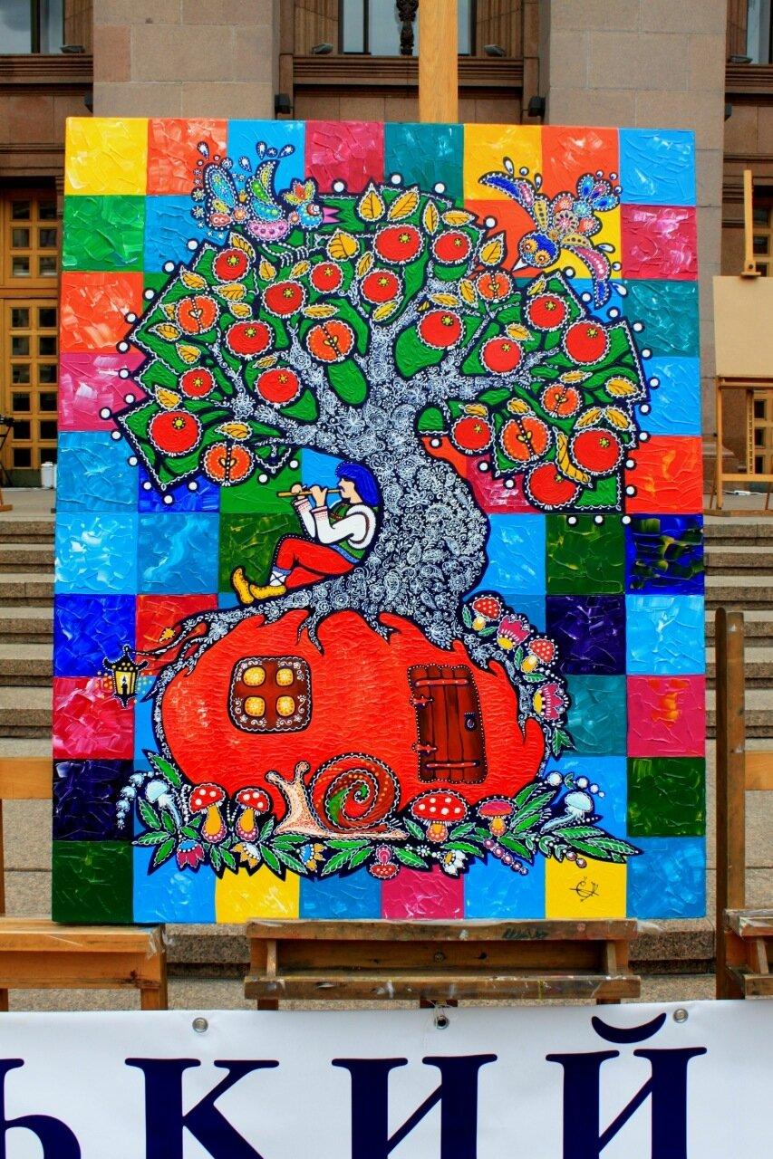 Дом-дерево картина живопись
