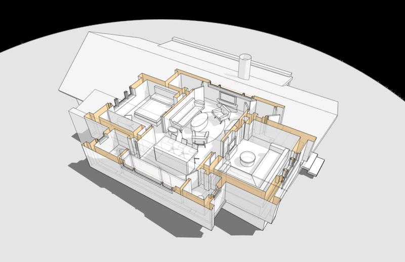 Гостиная-терраса, объединяющая несколько вспомогательных помещений.  Камин в гостиной. Жилой дом, коттедж, особняк.