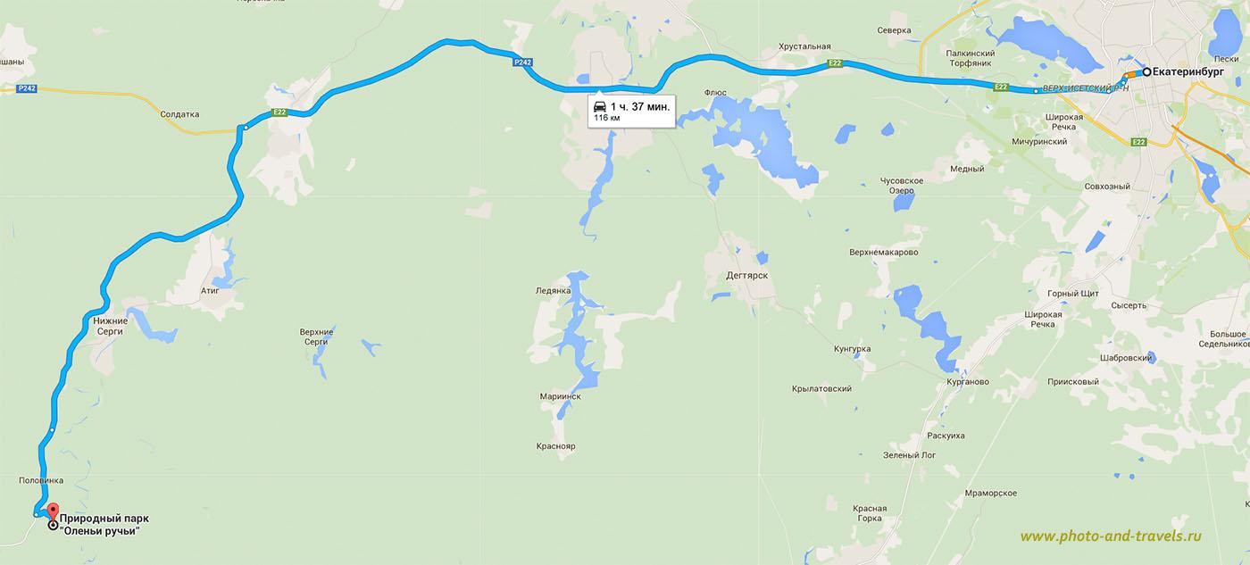 Карта проезда в природный парк