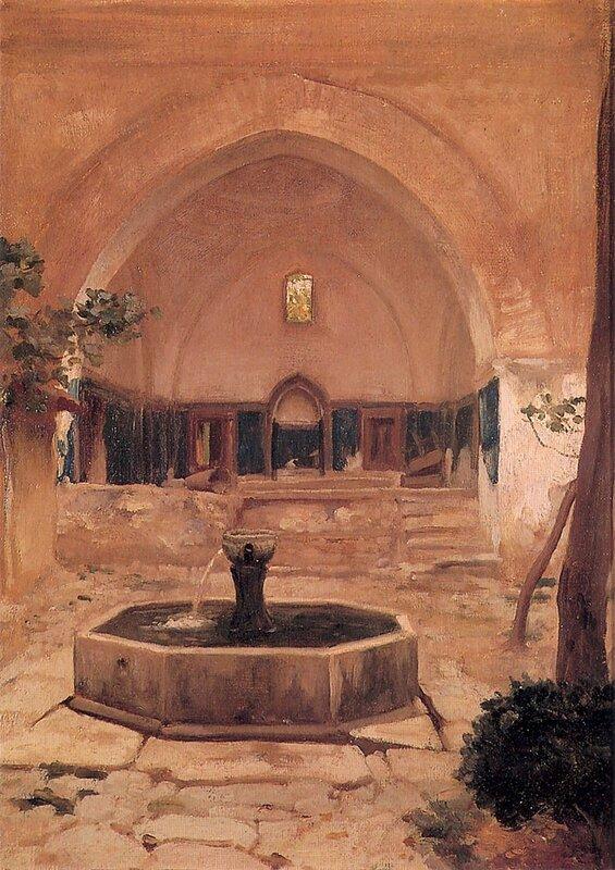 Двор мечети в Бурсы, Фредерик Лейтон, масло, холст, 26,4x36,3 см, 1867