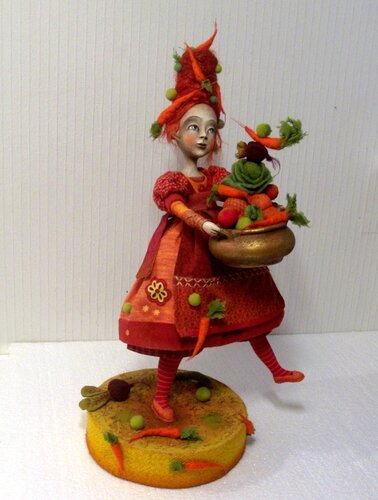 Vegetable ragout – art doll by Anna Zueva