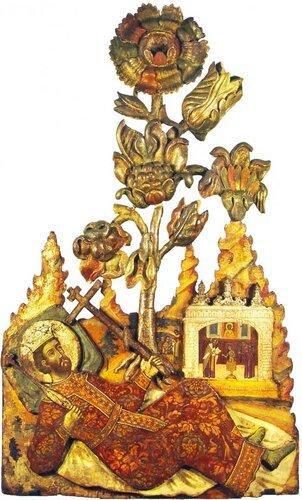 Святой равноапостольный царь Константин. Конец XVII (?) - начало XVIII века. Происходит из церкви святого Власия в Ярославле. Дерево, темпера; резьба, роспись.