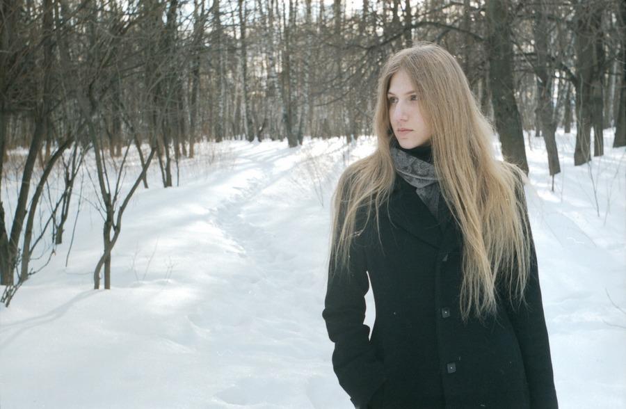 2010, волосы, девушка, зима, лес, лицо, молодая, москва, пленка, плёнка, портрет, россия