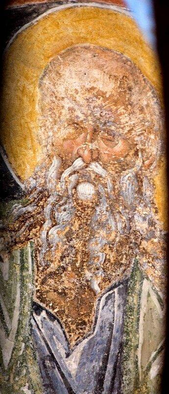 Лик Святого. Византийская фреска. Мистра, Греция.