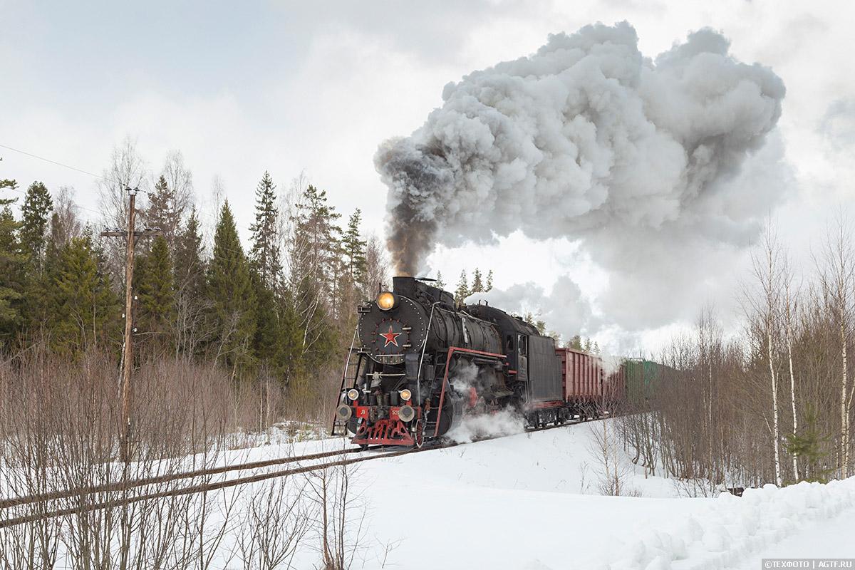 Паровоз Л на заповедной железнодорожной линии