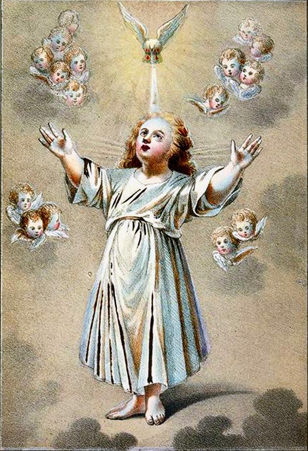 1. Изображение мальчика в виде младенца Иисуса, сверху голубь, кругом ангельские головки (снимок с картины, отобранной у скопцов). Литография из Исследования о скопческой ереси Надеждина 1845