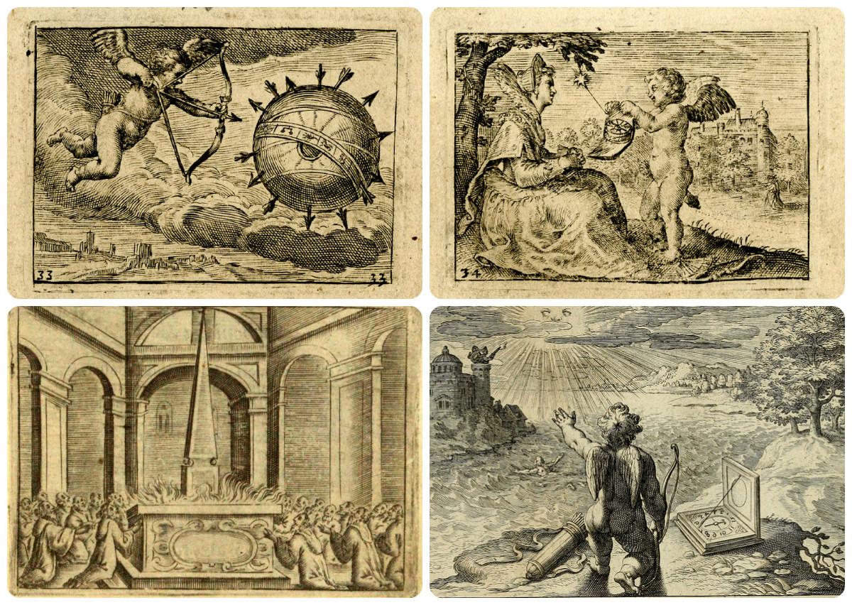 Эмблемы морали (Нравственные аллегории) сверху Allegory of love, внизу: George Chalmers, Emblemata Amatoria , Venice 1627