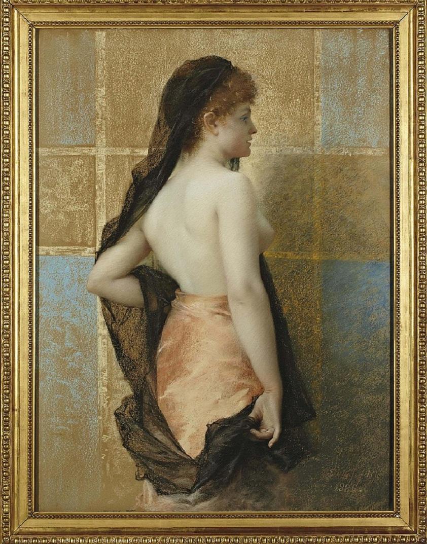 Jeune femme vue de dos, portant un voile noir et une jupe rose <br ></img>signé et daté 'G. Dubufe fils. 1886.