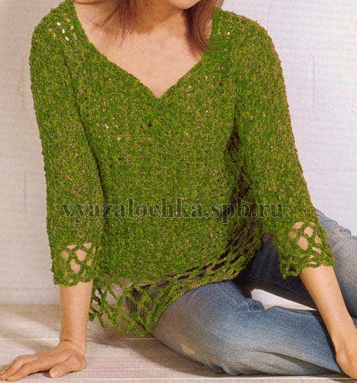 пуловер обвязанный крючком