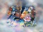 """Схема вышивки  """"Поцелуй """": таблица цветов."""
