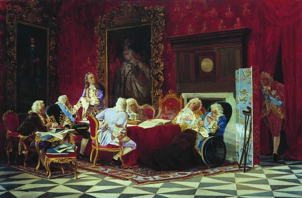 А. П. Волынский на заседании кабинета министров 1875 холст масло 45 х 68 Омский музей .jpg