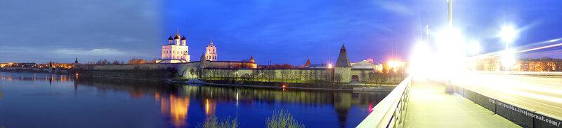 Панорама вечернего Пскова