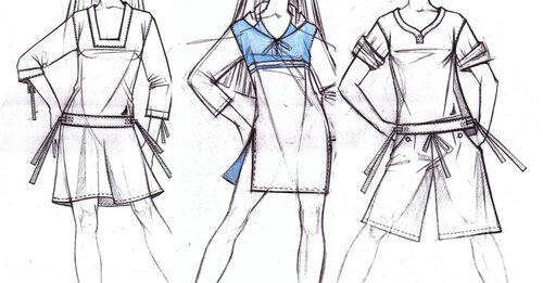 Бумага и карандаш Как мы рисуем одежду карандашами.