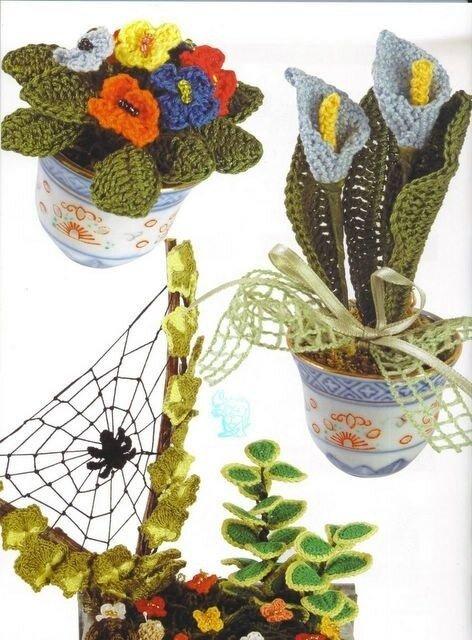 связать объемный цветок крючком - Сумки.