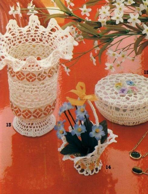 вязанные вазочки крючком схемы - Сумки.