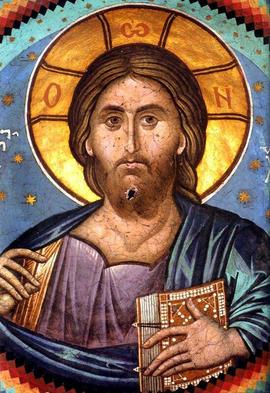 Христос Пантократор. Византийская фреска в монастыре Ватопед на Святой Горе Афон.