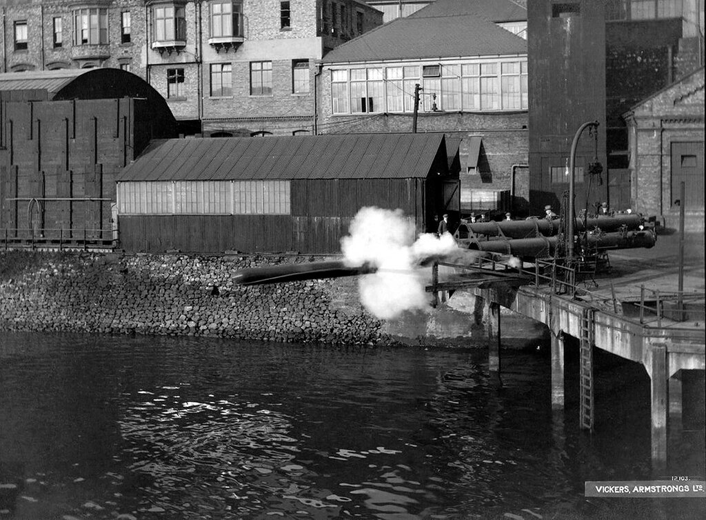 Firing torpedoes on the River Tyne, pictured is a firing trial of 21 inch Triple Deck Torpedo Tubes. Powder Impulse for Argentine Destroyers, c1929