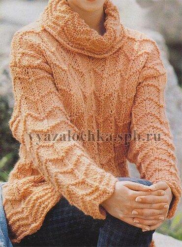 пуловер спицами с зором из зигзагов