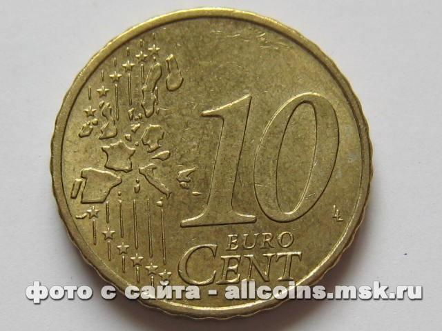 Монета 10 евро центов Германия