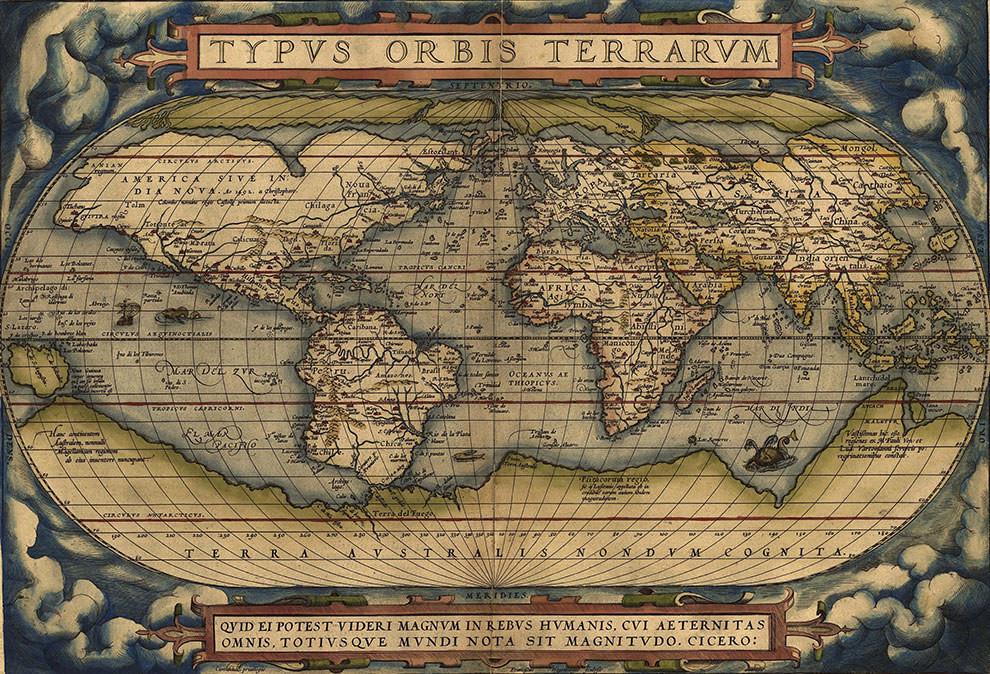 «Первый современный атлас» Абрахама Ортелия состоял из 53 карт  Глобальная карта польз