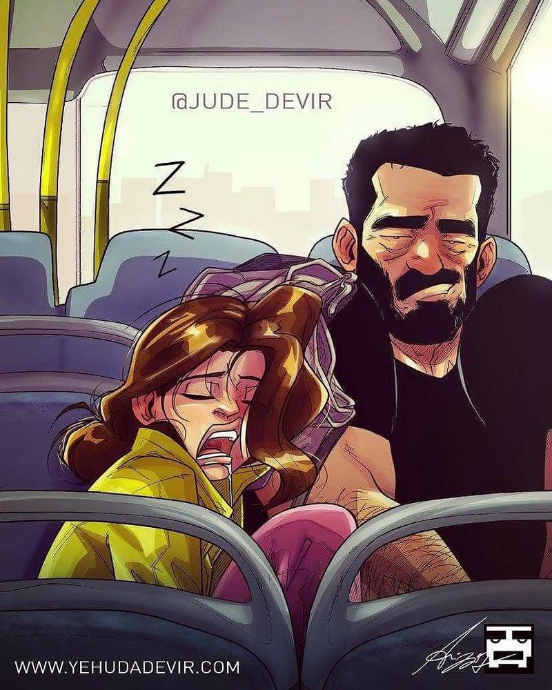 Иегуда Ади Девир иллюстрирует каждый день семейной жизни с женой