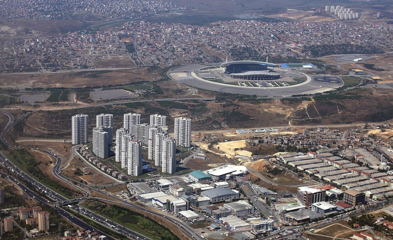 Istanbul, view from the plane. Ataturk Olympic stadium