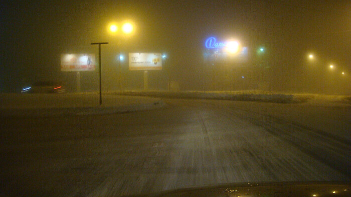 Владивосток, ночь, снегопад,улица