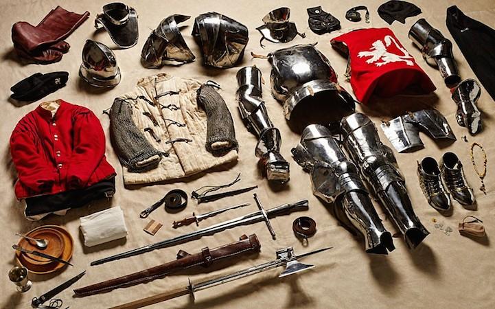 Экипировка всадника с тяжёлыми доспехами в битве при Босворте, 1485 год.