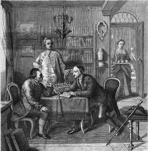 Gotthold Ephraim Lessing und Johann Caspar Lavater bei Moses Mendelssohn im Jahre 1763