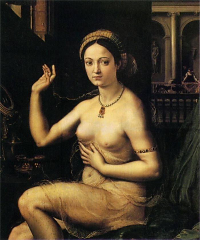 Романо, Джулио. Дама за туалетом, или Форнарина. Купальщица(так называемая Форнарина.)  Donna al Bagno (so called La Fornarina)