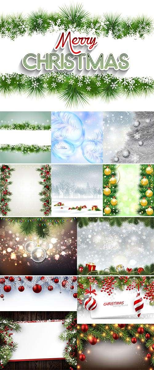 Новогодние и Рождественские Фоны с еловыми ветками