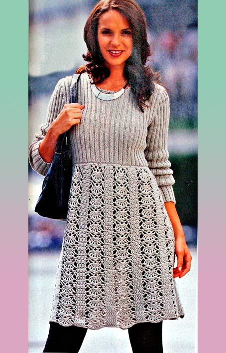 платье с длинными рукавами ажурным низом бесплатная схема