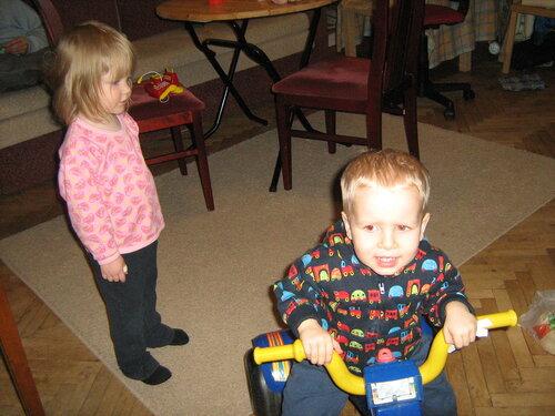 Дети, велосипед, мальчик, девочка, катается