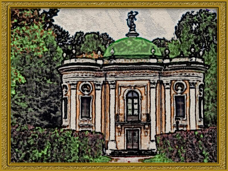 "Картина ""Кусково малый дворец"", rus, russia, photo, foto, фото, фотки, апарышев, дворец, дом, кусково, кусково малый дворец, лесопарк кусково, москва, музей, парк, усадьба, флигель, шереметьев."