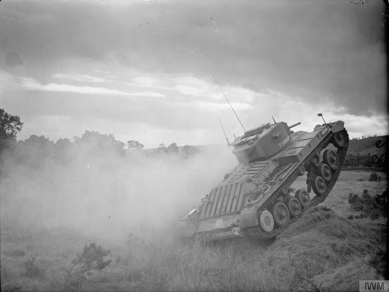 "A Valentine Mark III tank (T 1290288) of the 2nd Battalion, 1st Tank Regiment (1st Polish Corps) on exercise in Scotland, 21 August 1941. Photograph taken during General Alan Brooke""s visit to the Scottish Command."