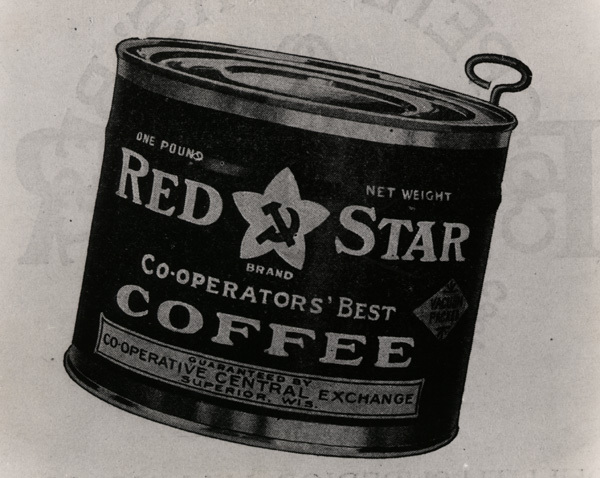 Red Star brand one pound coffee can with hammer and sickle for Co-operators' Best, Superior Wisconsin