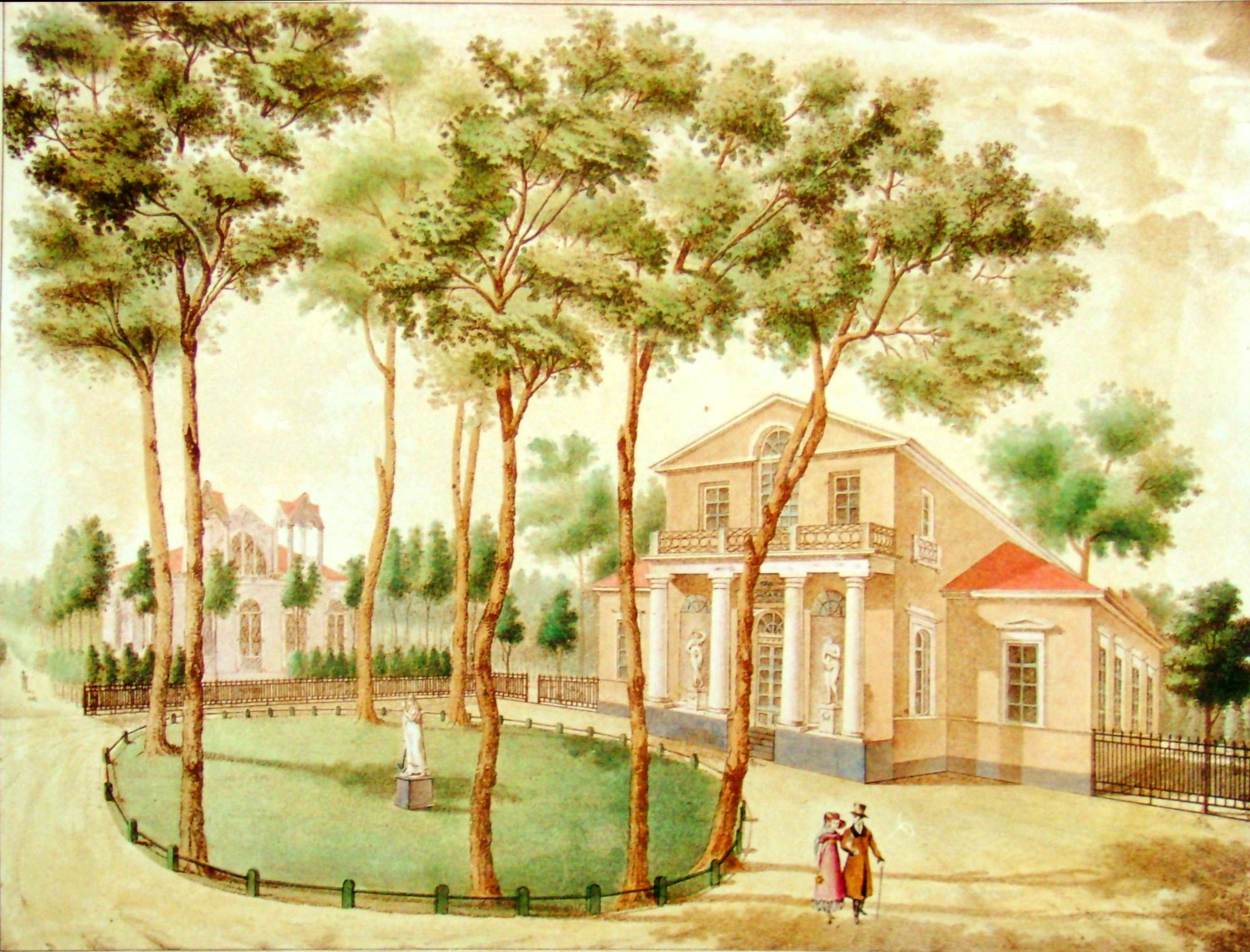 17. Вид деревянного дома в саду. Рис<овал> на кам<не> А<рхитектор> И. Семенов в 1823.