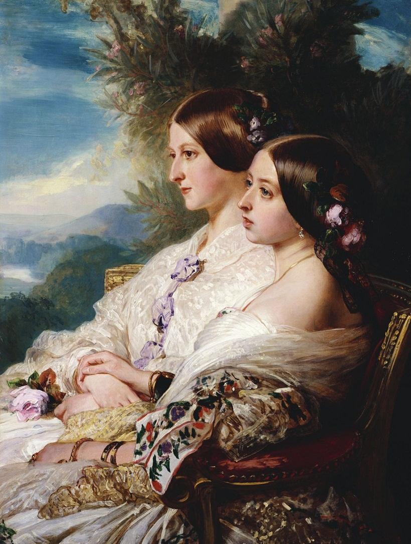 Кузены: королева Виктория и Виктуар, герцогиня де Немур  Подпись и дата тысячу восемьсот пятьдесят две