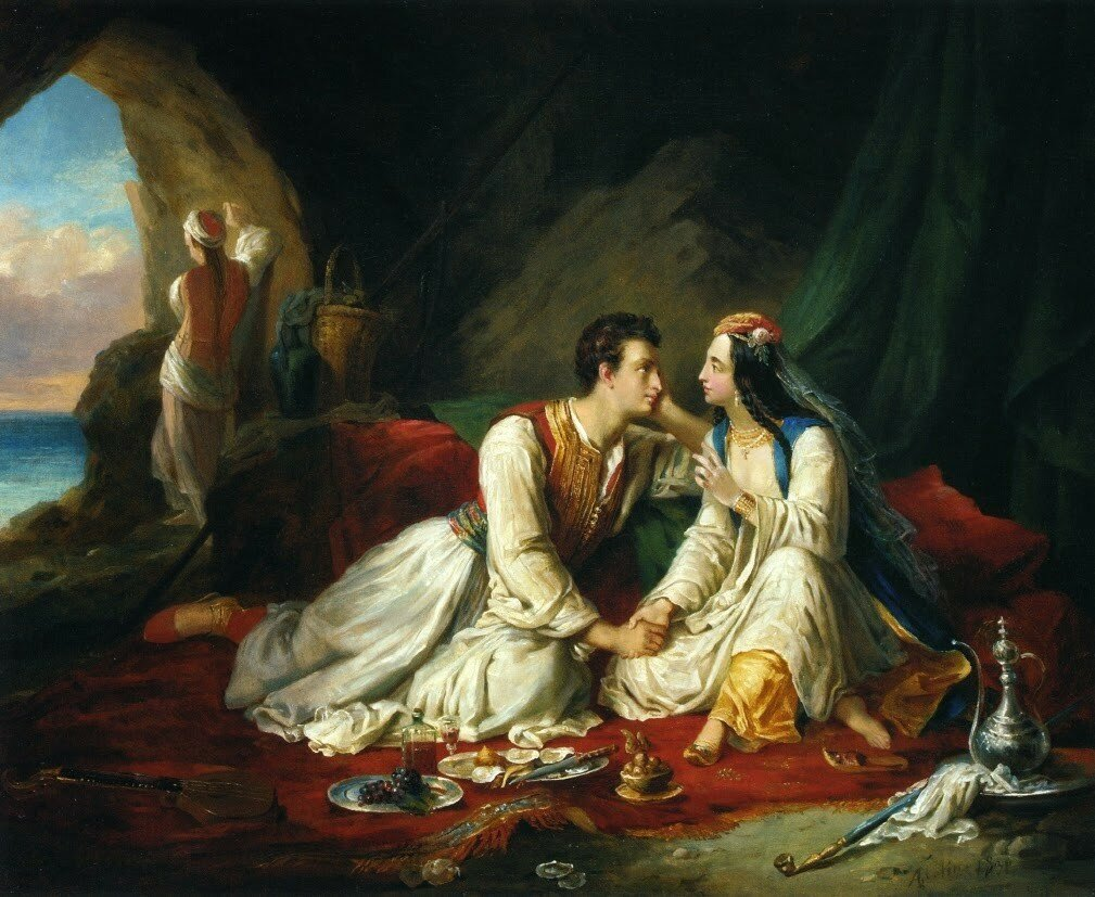 Alexandre-Marie Colin - Byron as Don Juan, with Haidee 1831.jpg