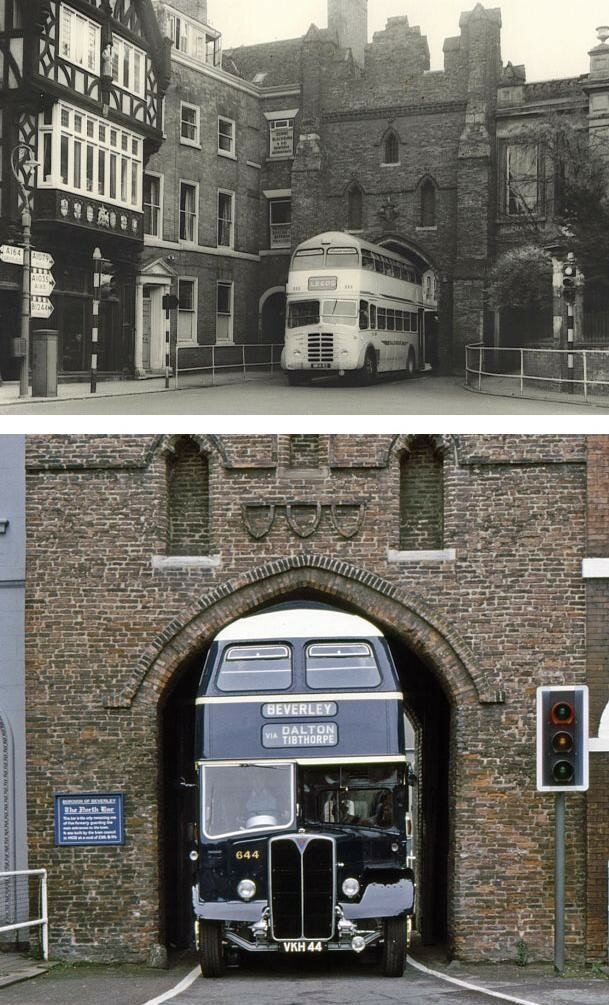 1950s Bus specially designed to fit through the North Bar Gate of Beverley East Yorkshire UK.jpg