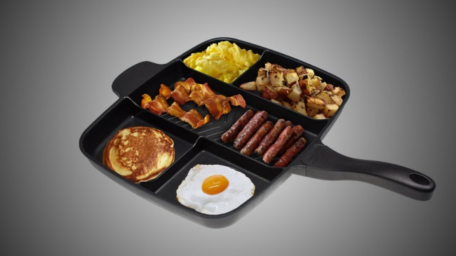 Теперь, чтобы приготовить назавтрак яичницу, блинчики иподжарить бекон иеще что-нибудь, необязате