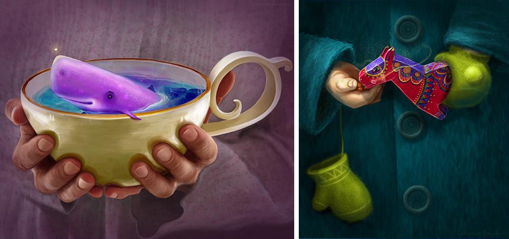 Екатерина Разинькова художник-иллюстратор, работает всмешанной технике. Восновном— цифровая графи
