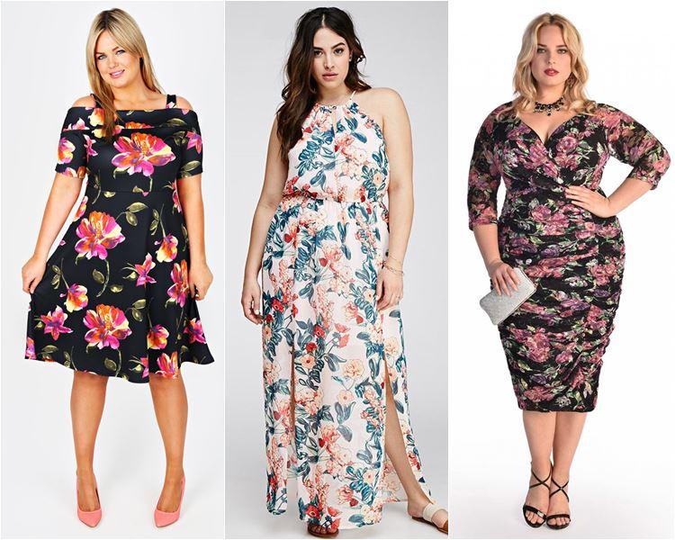Платья с цветочным принтом для полных 2016