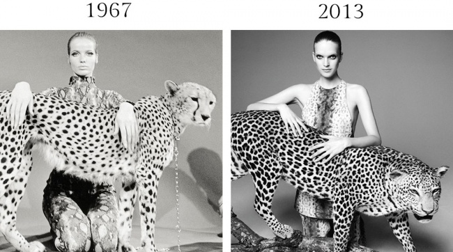 Для июльского Vogue 1967 года Уильям Кляйн сфотографировал «экзотическую» модель Верушку сгепардом