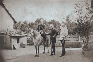 Великий князь Сергей Александрович, принц Александр Баттенберг и полковник Скариалин в селе Пордим, сентябрь 1877